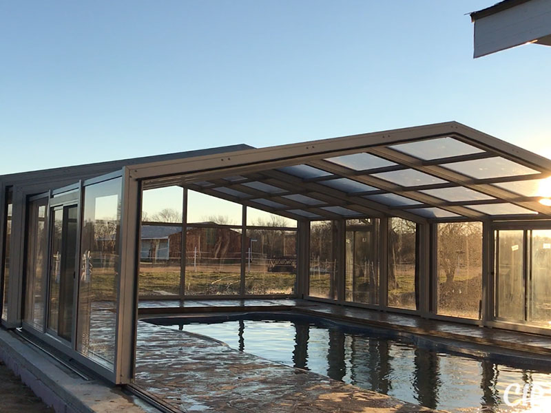 Retractable Pool Enclosure partially open